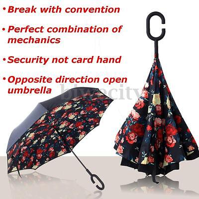 Folding Handle Reverse Umbrella Windproof Double Layer Upside Down Rose Inverted