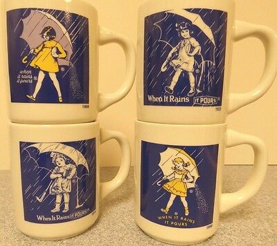 Morton Salt Commemorative Umbrella Girl Mugs 1914, 1921, 1956, 1968