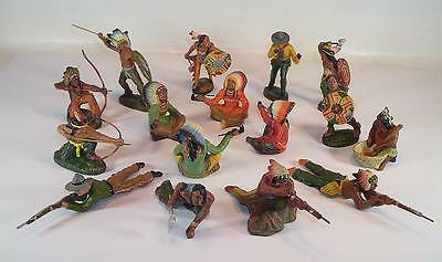 Elastolin / Lineol Masse Figuren Wildwest Konvolut mit 16 Figuren #132