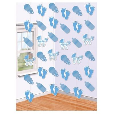 6 Baby Boy Hanging String Blue Shower Party Decorations 2.13m