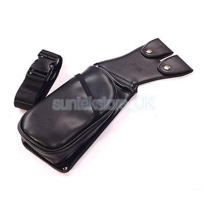 Black Leather Belt Side Archery Quiver Arrow Bag with Zipper Pocket Hunting