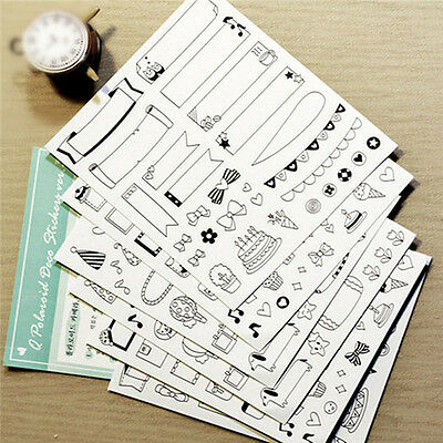 6 Sheets of Stickers for Journaling Bullet Journal Kawaii Diary Photos and Art