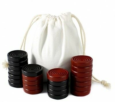 Black And Red Carved Stackable Wooden Checkers (24 Pieces) With Cloth Bag - NEW