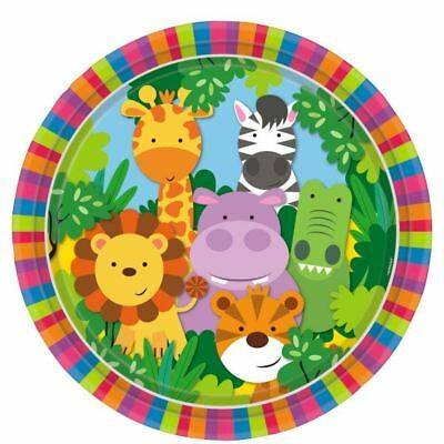 Jungle Friends Paper Plates 23cm 8pk Animals Birthday Party Tableware