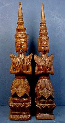 Pair Carved Wood Teppanom Brother & Sister Kneeling Temple Guardian Sculptures