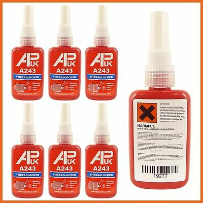 6 x 50ml Medium Strength Threadlocker Adhesive Glue Thread A 243 like loctite