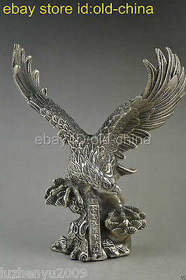 China eagle decor statue collectible old tibet silver carve open wing