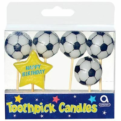 Football Birthday Pick Candles 6pk Soccer 3D Sports Party Cake Decoration Topper