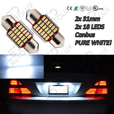 2x C5W Feston 31mm Number Plate Lights Bulbs 18 Led Xenon White Canbus Pair Free