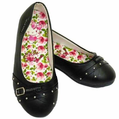 Childrens Kids Girls Black Hello Kitty Slip-On School Pumps Ballerina Shoes 10-3
