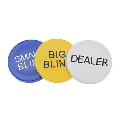 Texas Hold'em Poker Chips Big Blind Small Blind Dealer Button Party Kasino 3x