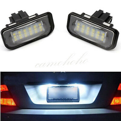 2X White License Plate LED Lights Error Free For Mercedes Benz W203 4D C230 C240