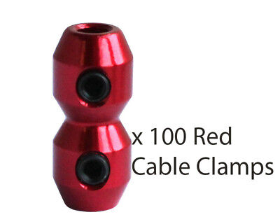 100 x Red Aluminium Anodised Cable Clamp for Brake & Throttle