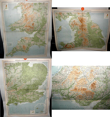 *England & Wales Book Plate Maps -From the Times Atlas 1922-John Bartholomew x 3