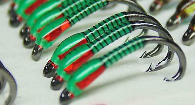 3 X Insect green buzzers red hollo cheeks size 12 trout fishing buzzers hot flie