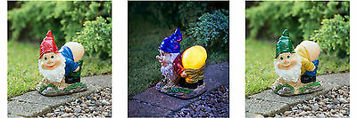 New Mooning Gnome with Solar Powered Ultra Bright LED Light Garden Decoration