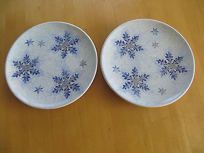 "Ceramiche Umbre 8.5"" Snowflake Plates (2) By Tiridizzi Made In Italy Christmas"