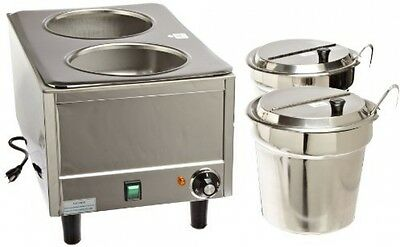 21x13x17in Dual Well Warmer, Soups Sauces Toppings Twin Lids Ladles Electric New