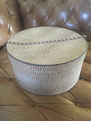 "Vintage Hat Box : Brown Snake Skin Pattern 13.5"" x 6.5"""