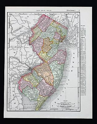 1908 New Jersey Map Atlantic City Cape May Railroads Counties Townships ORIGINAL