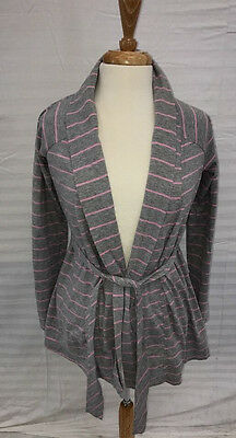 Maternity Bump in the Night Grey/Pink Striped Short Robe Sz S