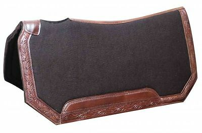 Western Show Trail Saddle FELT HORSE Pad 30x30 BROWN W/Tooled leather trim New!