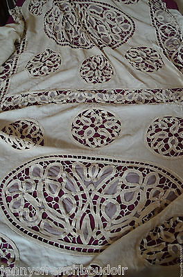 Antique French circa 1900 hand made linen bed cover, tape lace, tulle, pom poms