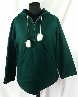 Yukon Native Products 100% Wool Inuit Pullover Hooded Jacket S Rabbit Fur Green
