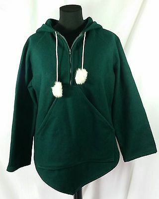 Yukon Native Products S 100% Wool Inuit Pullover Hooded Jacket Rabbit Fur Green