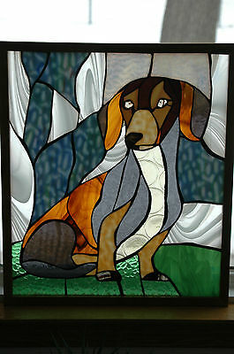 Dachshund Dog Stained Glass Framed Art Montana Agate, Oak, Hanging Chain