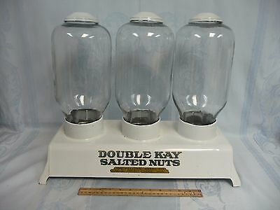 AWESOME ANTIQUE DOUBLE KAY SALTED NUTS PORCELAIN ENAMEL w/GLASS DISPENSERS