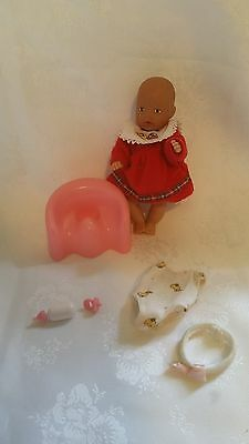 "Baby Born DOLL + POTTY & FOOD SET Bulk Miniworld Mini world 1990 VINTAGE 4"" Zapf"