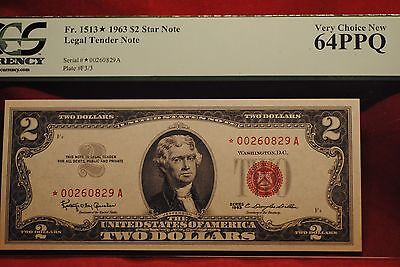 US Currency: 1963 2.00 Star Legal Tender Note 64 PPQ Very Choice New