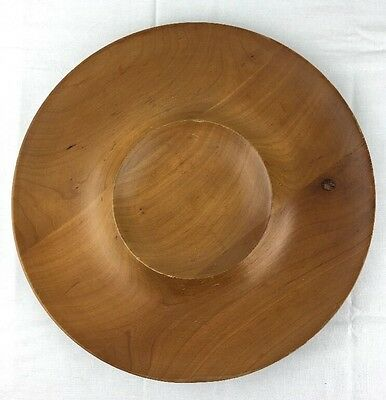 Vintage Signed K Smith Cherokee NC Cherry Wood Chip & Dip Tray hand carved NICE