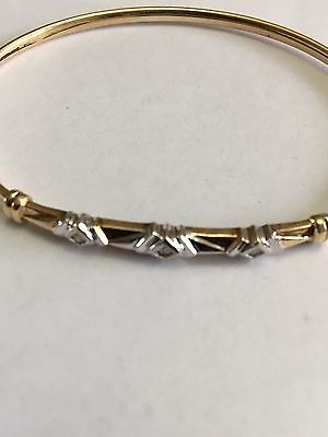10k Gold Vintage Yellow And White Mix With 3  .05 Diamonds, 3Inches Wide