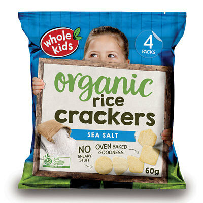 Whole Kids Organic Brown Rice Crackers Sea Salt 15g 4 Pack