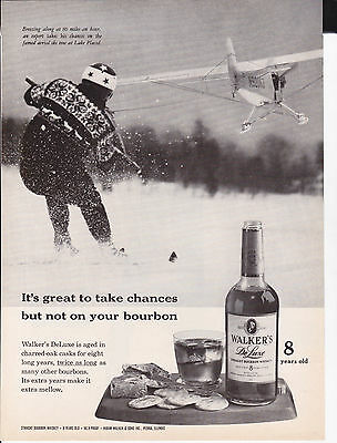 Original Print Ad-1961 It's great to take chances-WALKER'S DELUXE-Aerial Ski Tow
