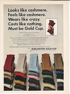 Original Print Ad-1965 Wears Like Crazy-Costs Like Nothing-Must Be GOLD CUP SOCK
