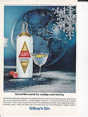 Original Print Ad-1964 GILBEY'S GIN-Out of This World For Holiday Entertaining
