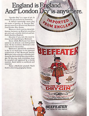 """Original Print Ad-1968 England is England & """"London Dry"""" is Everywhere-BEEFEATER"""