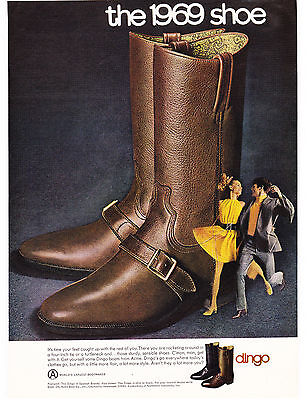 Original Print Ad-1968 the 1969 shoe-Dingo Boots from ACME-Yellow Couple Dancing