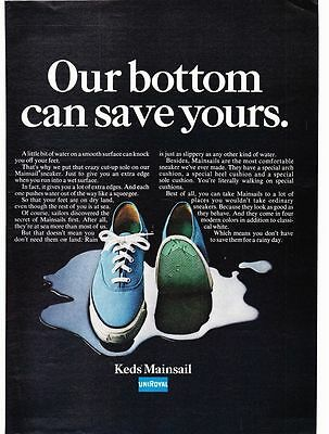 Original Print Ad-1968 KEDS MAINSAIL SHOES/UNIROYAL-Our bottom can save yours.