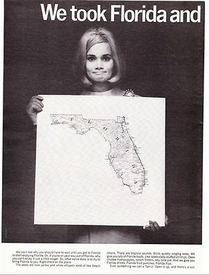 2 Page Original Print Ad-1968 We took Florida and turned it into an airline-Wow