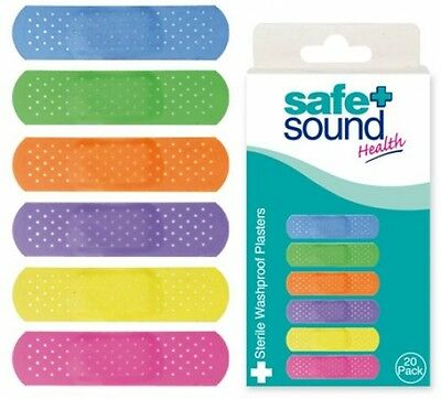Safe and Sound 20 Sterile Washproof Glow Plasters - Super Adhesive - Non-Stick