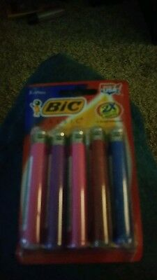 (1)BRAND NEW  5 pack of full size bic lighters assorted colors