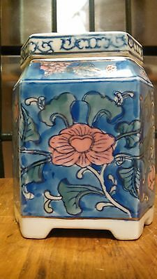 ANTIQUE Porcelain TEA CADDIE - JAR - Lidded JAR - Canister - URN