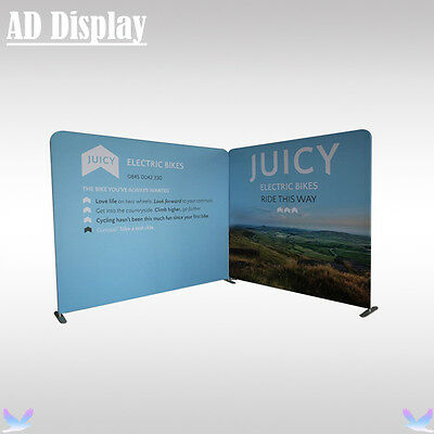 10ft And 8ft Width Straight Fabric Display Stand With Single Side Printed Banner