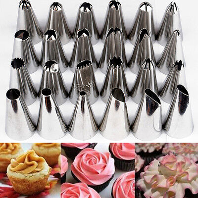 24PCS Icing Piping Nozzles Tip Set Cake Sugarcraft Box DIY Various Styles Decor