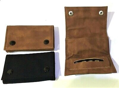 Tobacco Pouch Suede Leather with Booklet Holder COMPACT DESIGN POCKET SIZE