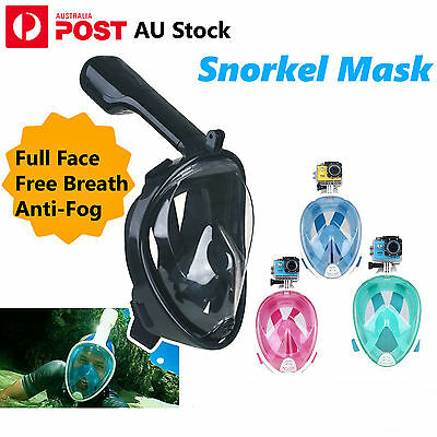 Full Face Snorkeling Snorkel Mask Diving Goggles With Breather Pipe For GoPro AU